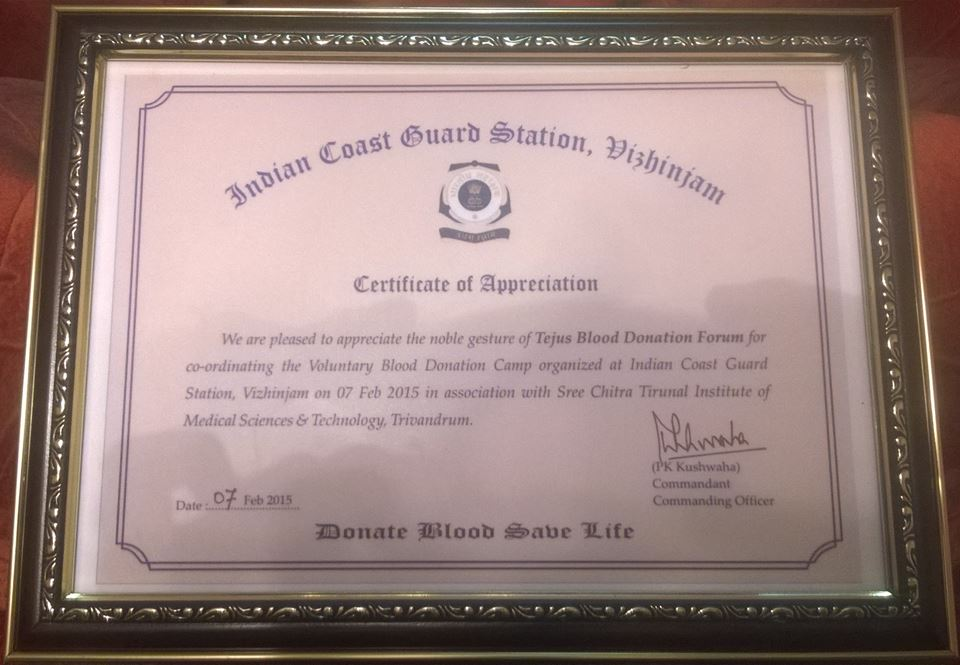 Tejus certificate of appreciation from the indian coast guard yelopaper Choice Image